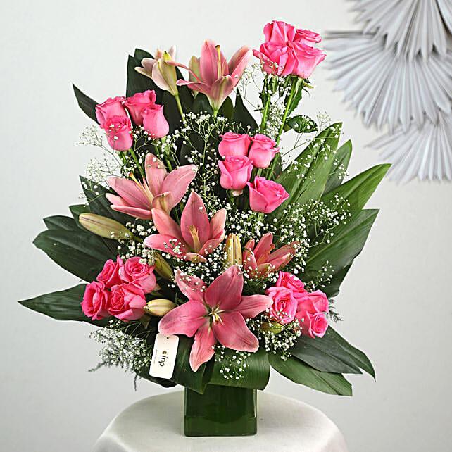 Pink Flowers Vase Arrangement: