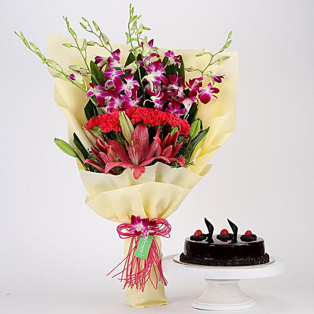 Pink & Purple Flowers & Truffle Cake Combo: Send Carnations