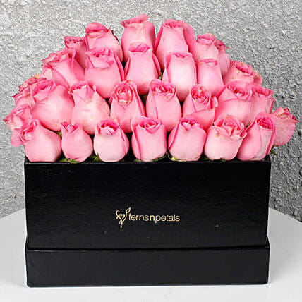 Pink Roses Box of Happiness: Flowers In box
