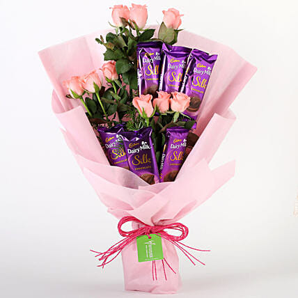 Pink Roses & Dairy Milk Silk Bouquet: Cadbury Chocolates