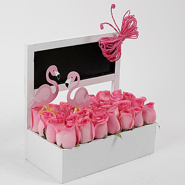 Pink Roses Flamingo Perfection: Premium Flowers
