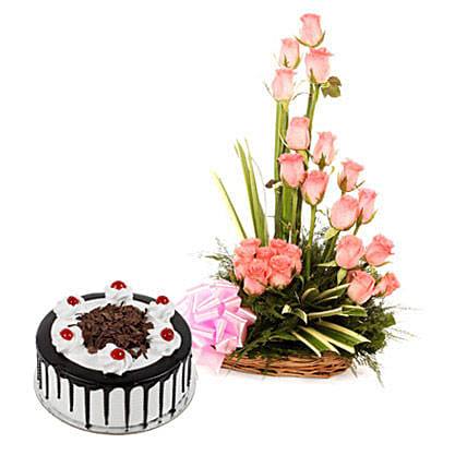 Pink Roses N Chocolate Treat: Flowers & Cakes for Friendship Day