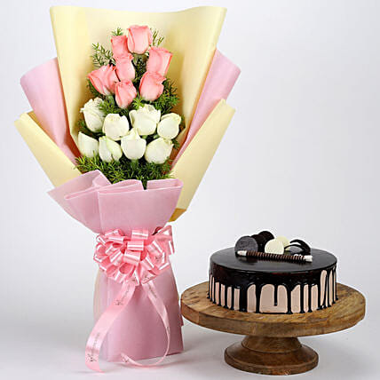 Pink & White Roses & Choco Cream Cake: Flower Bouquet with Cake