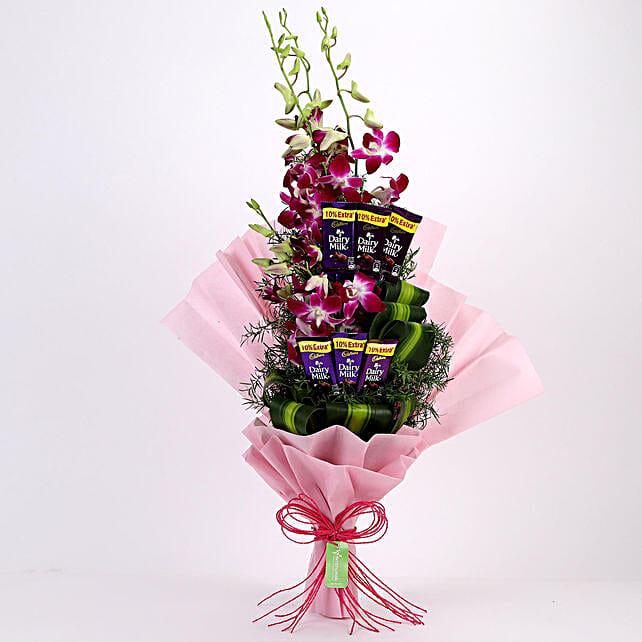 Posy of Purple Orchids & Dairy Milk: Cadbury Chocolates