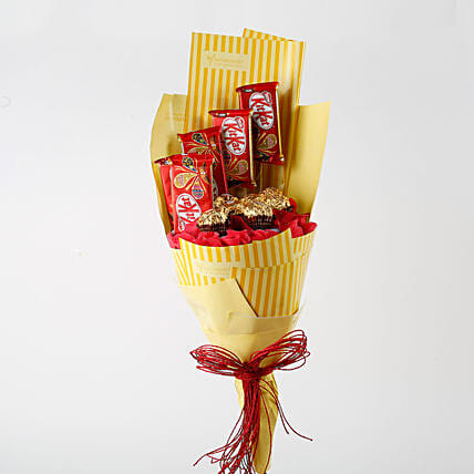 Kit Kat & Ferrero Rocher Bouquet: Send Chocolate Bouquet