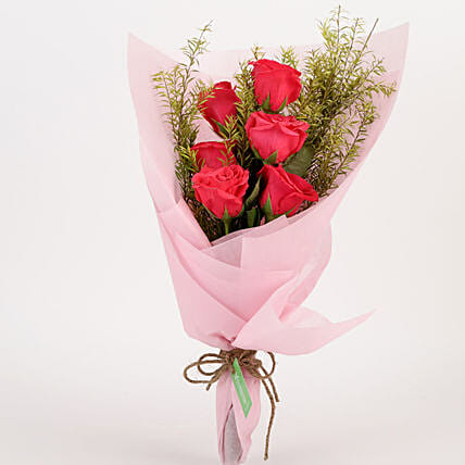 Pristine 6 Pink Roses Bouquet: