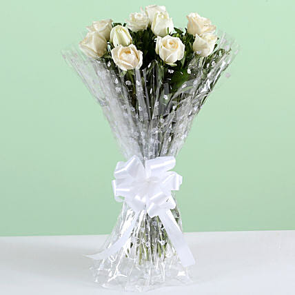 Pure Elegance-10 White Roses Bunch: Send Roses