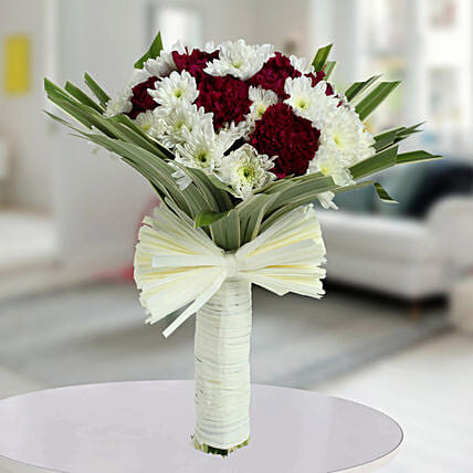 Purple Carnations N White Daisies Bunch: Designer Bouquet
