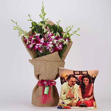 Purple Orchids Bunch & Personalised Cushion Combo: Flowers N Personalised Gifts