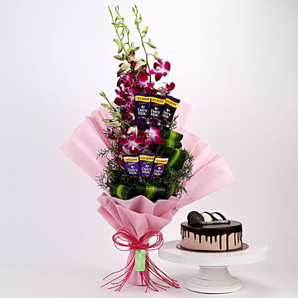Purple Orchids Posy & Chocolate Cake: