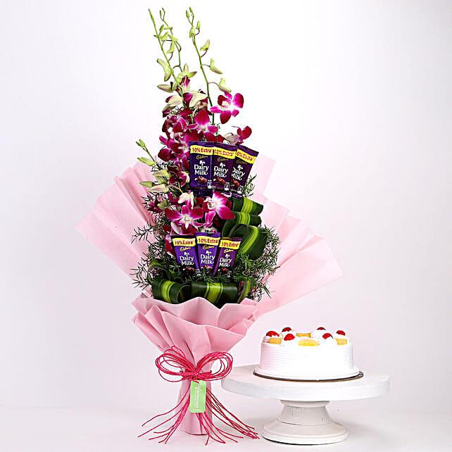 Purple Orchids Posy & Pineapple Cake: