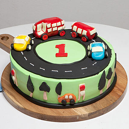 Race Track First Birthday Cake: Strawberry Cakes