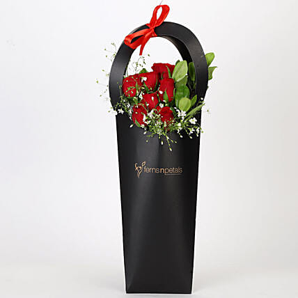Ravishing Red Roses in Black Sleeve: Thinking Of You