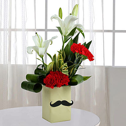 Red Carnation N Leaves Arrangement Birthday Gifts For Father