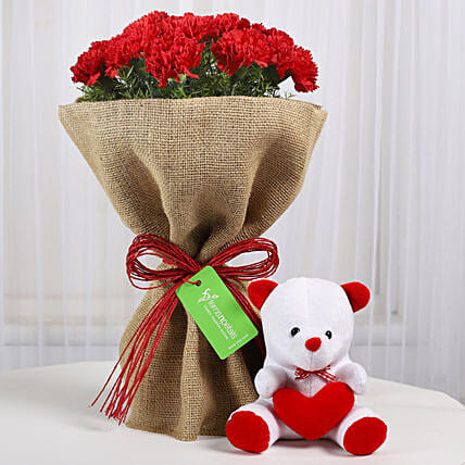 Red Carnations Bouquet & Teddy Bear: Flower Combos