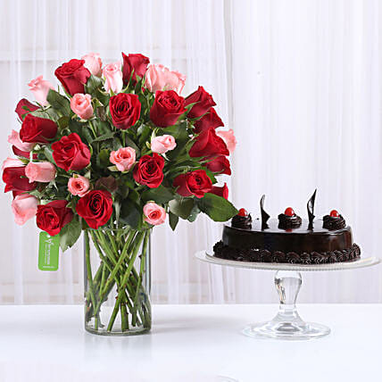 Red & Pink Roses With Truffle Cake: