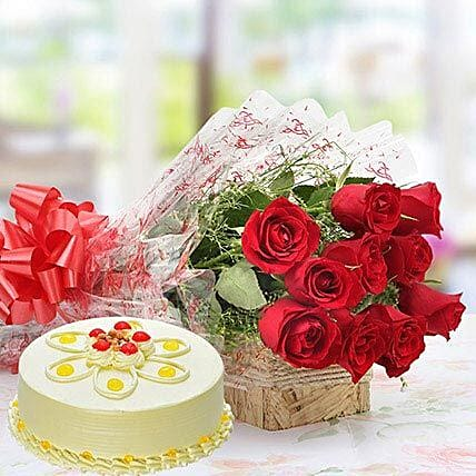 Red Roses And Butterscotch Cake Combo: Flowers & Cake Combos