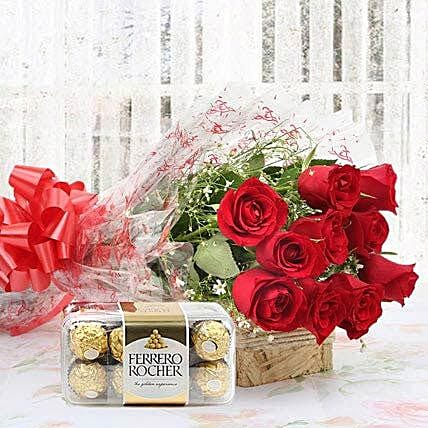 Red Roses And Rocher Combo: Ferrero Rocher Chocolates