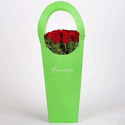Red Roses in Green Sleeve Bag: Red Flowers