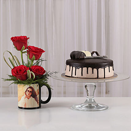 Red Roses Mug & Chocolate Cake Combo: Flowers N Personalised Gifts