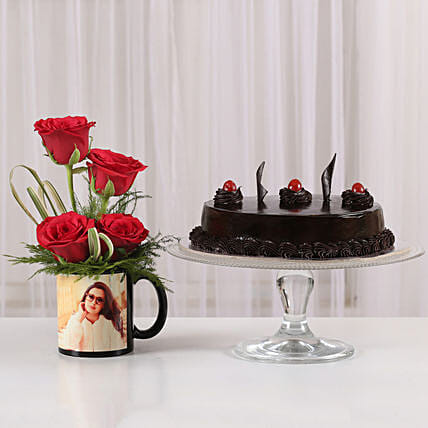 Red Roses Mug & Truffle Cake Combo: Flowers N Personalised Gifts