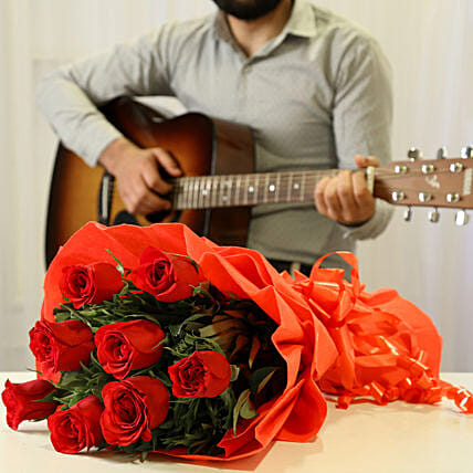 Red Roses & Romantic Tunes Combo: Send Flowers & Guitarist Service
