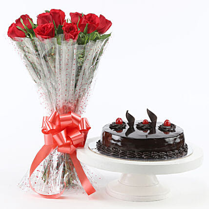 Red Roses With Truffle Cake Flower Bouquet