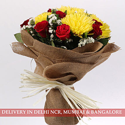 Red Roses & Yellow Disbud Bouquet: