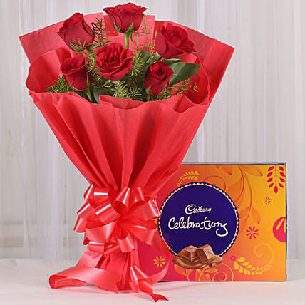 Red Roses & Cadbury Celebrations Combo: Gifts for Ugadi