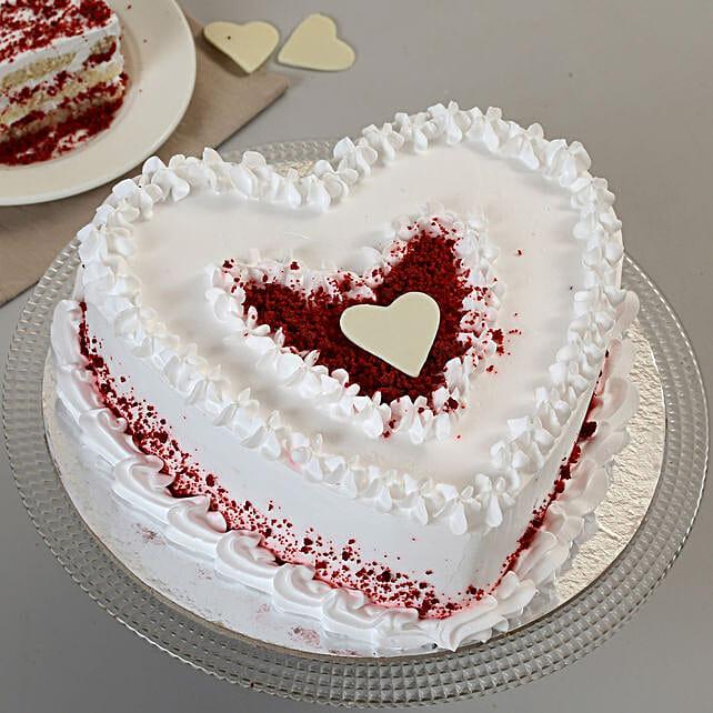 Red Velvet Cream Heart Cake: Heart Shaped Cakes for Birthday
