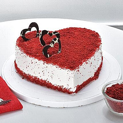 Red Velvet Heart Cake: Eggless Cakes
