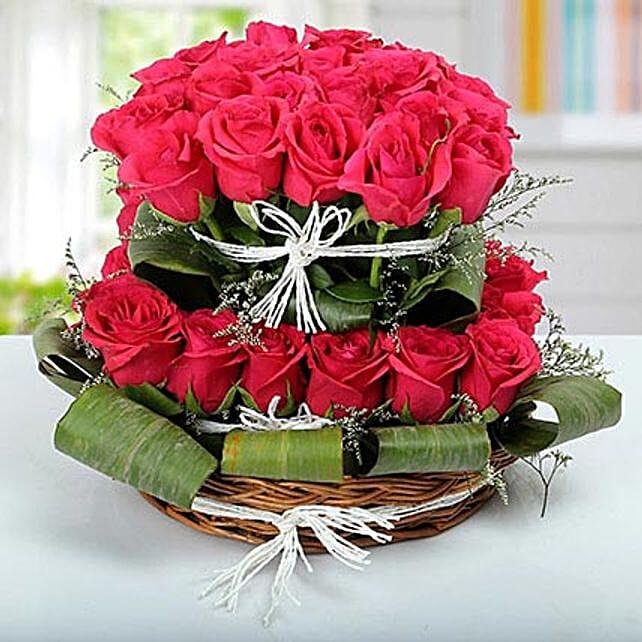 Rose Basket Arrangement: Pink Flowers