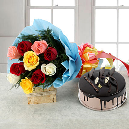 Rose Repose: Flower Bouquet with Cake