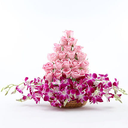 Roses And Orchids Basket Arrangement: Orchids