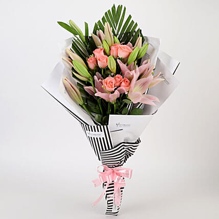 Roses & Lilies Striped Bouquet: