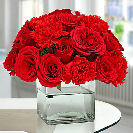 Roses N Carnations Arrangement: Flower Arrangements