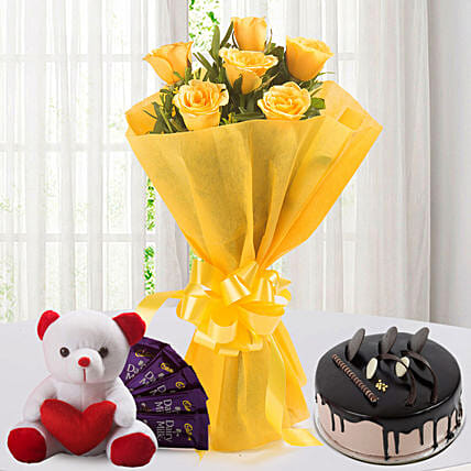 Roses N Choco Hamper: Flowers & Teddy Bears for Propose Day