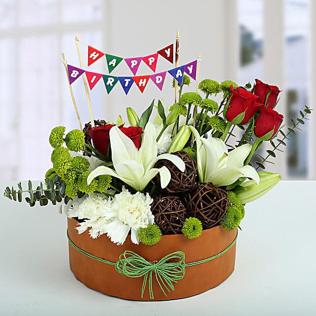 Roses N Lilies Vibrant Arrangement: Flower Arrangements