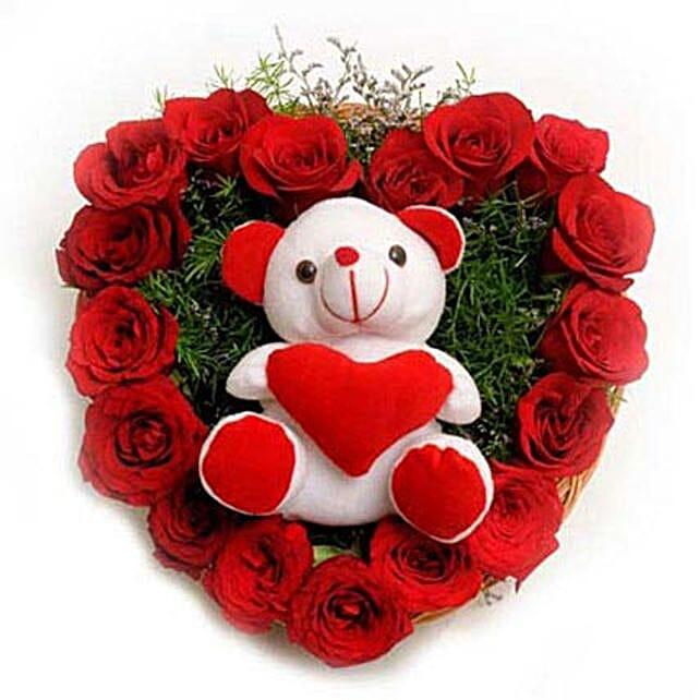 Roses N Soft toy: Heart Shaped Flower Arrangements