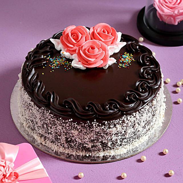 Rosy Chocolate Cream Cake: Eggless Cakes