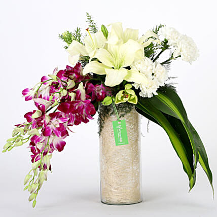 Orchids & Carnations Vase Arrangement: Karwa Chauth Flowers