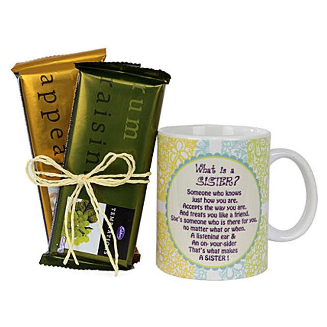 Sister Mug and Chocolates Combo: Cadbury Chocolates