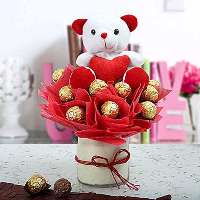 Ferrero Rocher & Teddy Bear Arrangement: Ferrero Rocher Chocolates