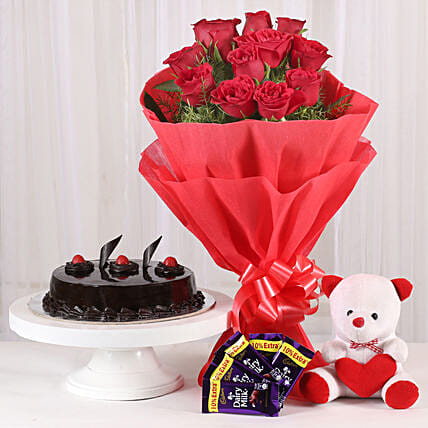 Roses with Teddy Bear, Dairy Milk & Truffle Cake: Gifts for Hug Day