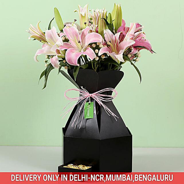 Stylish Box Of White Lilies & Chocolates:
