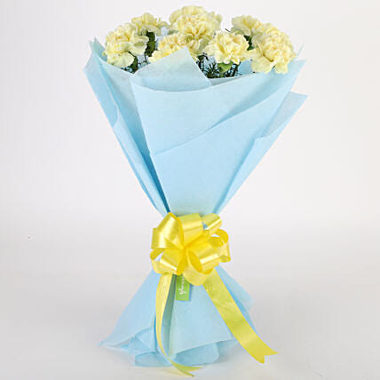 Sundripped Yellow Carnations Bouquet Birthday Gifts For Dad
