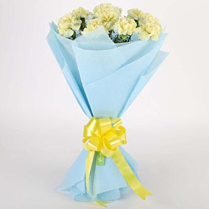 Sundripped Yellow Carnations Bouquet: Friendship Day Gifts