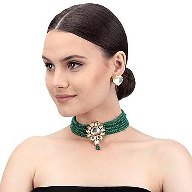 Swanky Green Kundan Necklace Set: Send Jewellery Gifts
