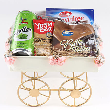 Sweet Hamper In Pink Handcart: Gift Hampers