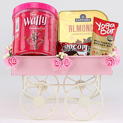 Sweet & Savoury Hamper In Pink Handcart: Gift Hampers